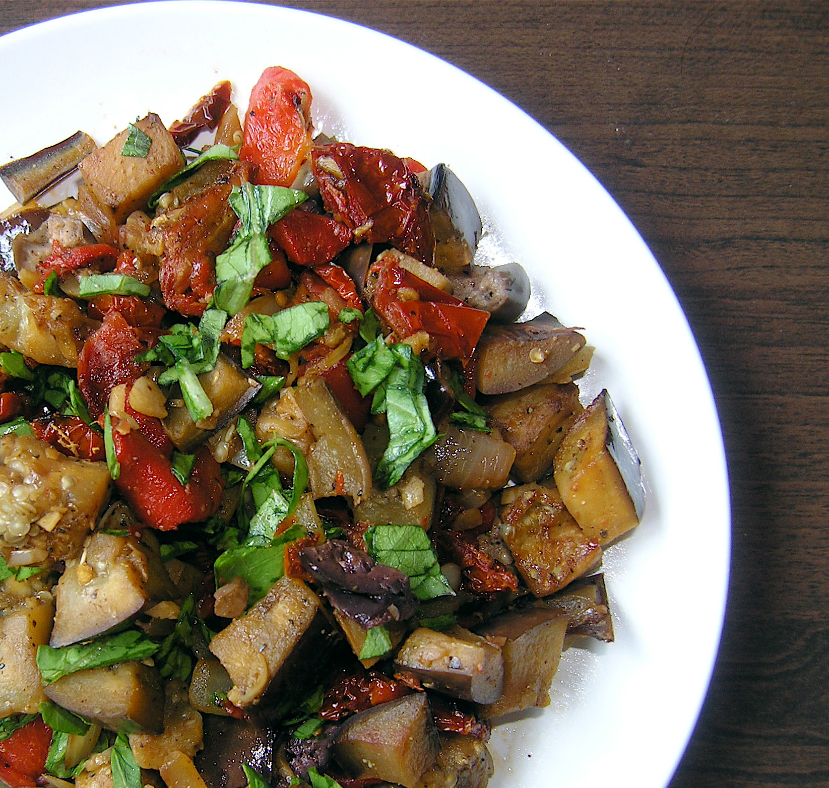Eggplant Salad with Roasted Red Peppers, Sun Dried Tomatoes, and Basil ...