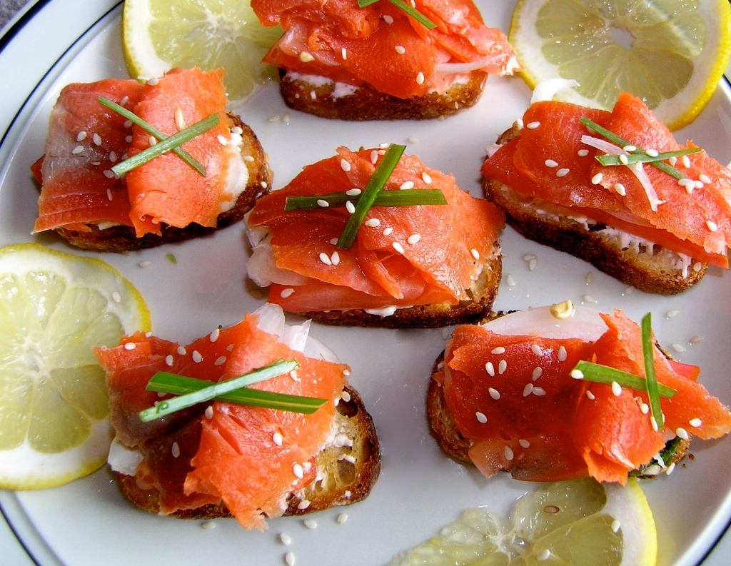 Smoked Salmon Crostini with Lemon-Dill Creme Fraiche | Cooking in Red ...