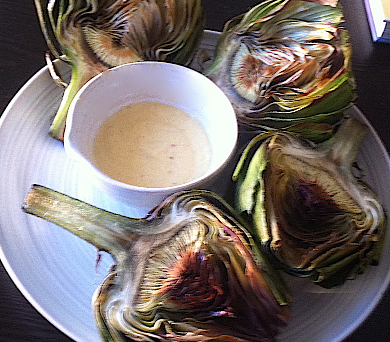 Grilled Artichokes with Garlic Lemon Aioli | Cooking in Red Socks